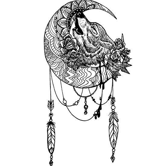 Wolfsmond Wolf Moon Tattoo Wolf Tattoo Tattoo Style Lineart Howling Wolf Mond Wolf Und Mond Tattoo Traumfanger Tattoo Design Wolf Tattoo Design