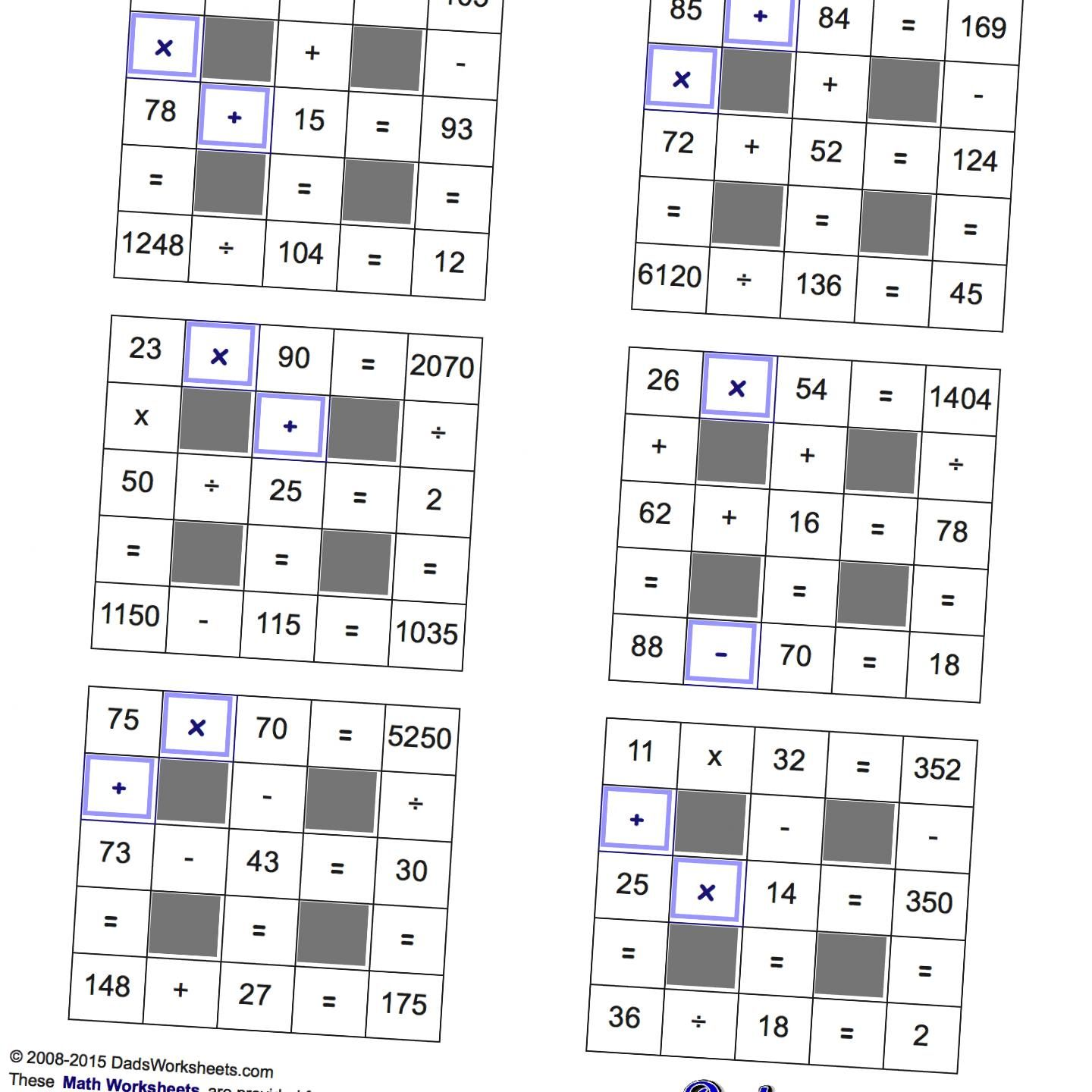 Math Worksheets: All Operations Grid Puzzles with Missing Values and ...
