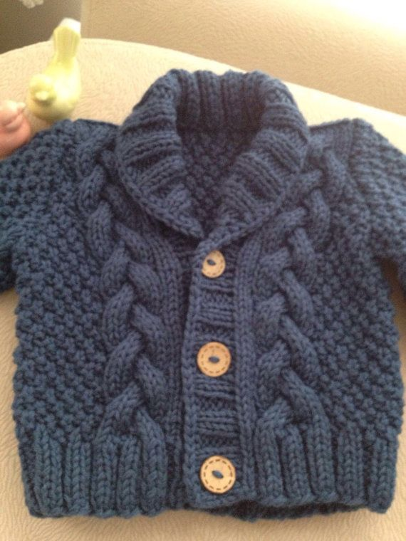 Knit Baby Sweater Hand Knitted Grey Baby Cardigan Gray
