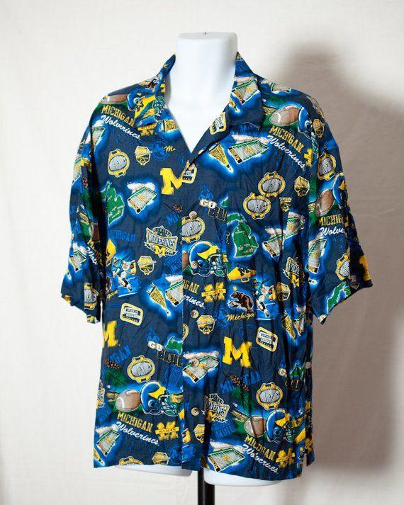 e02d74449cb Vintage 90s University Of Michigan WOLVERINES Football Hawaiian ...