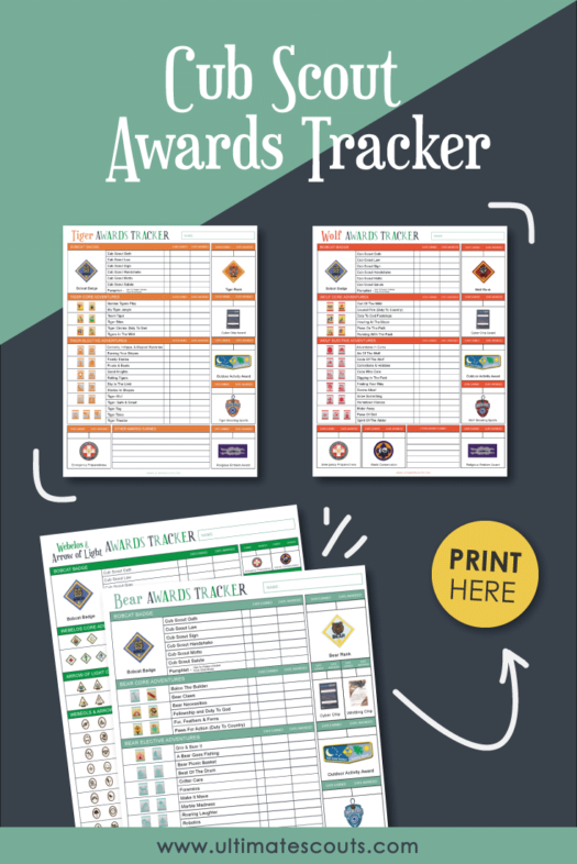 Cub Scout Awards Tracker (With Free Printables) - for Tiger Scouts, Wolf Scouts, Bear Scouts, Webelos and Arrow of Light | Ultimate Scouts