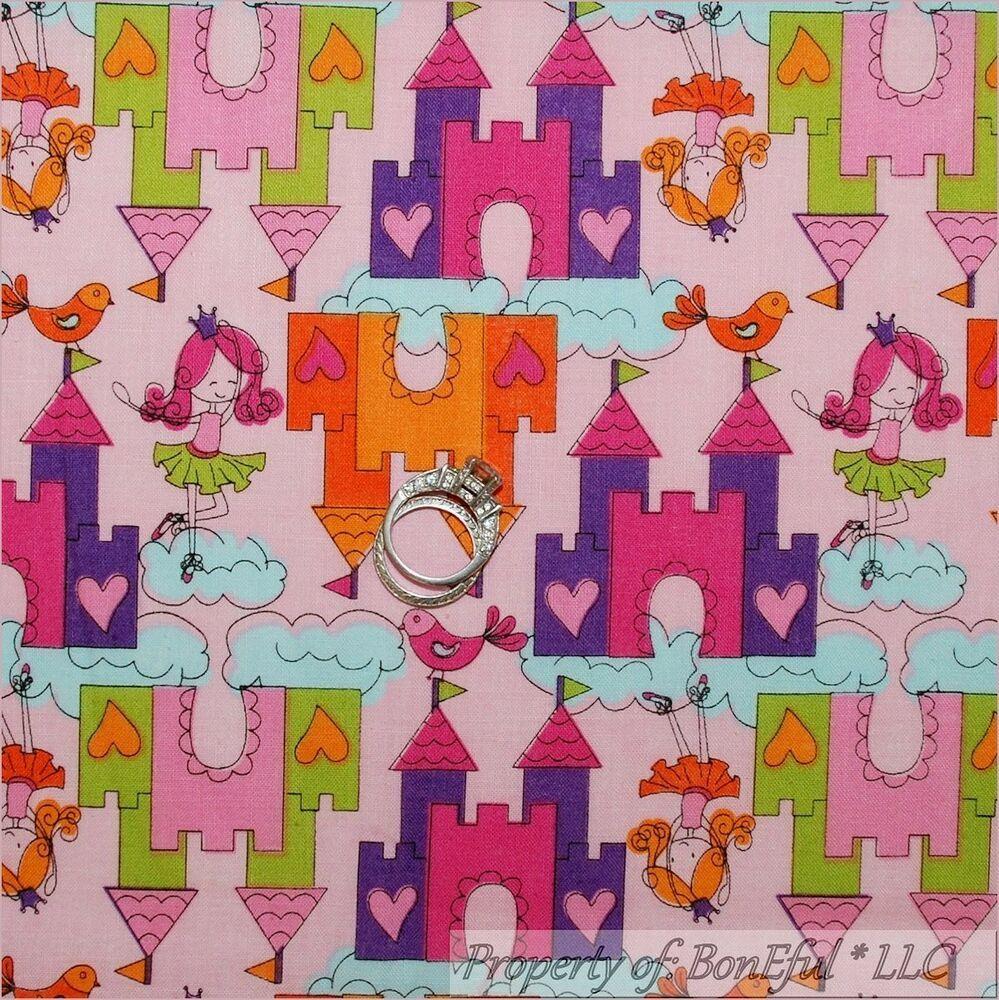 BonEful Fabric FQ Cotton Quilt Purple Pink Princess Rainbow Girl Patchwork Block