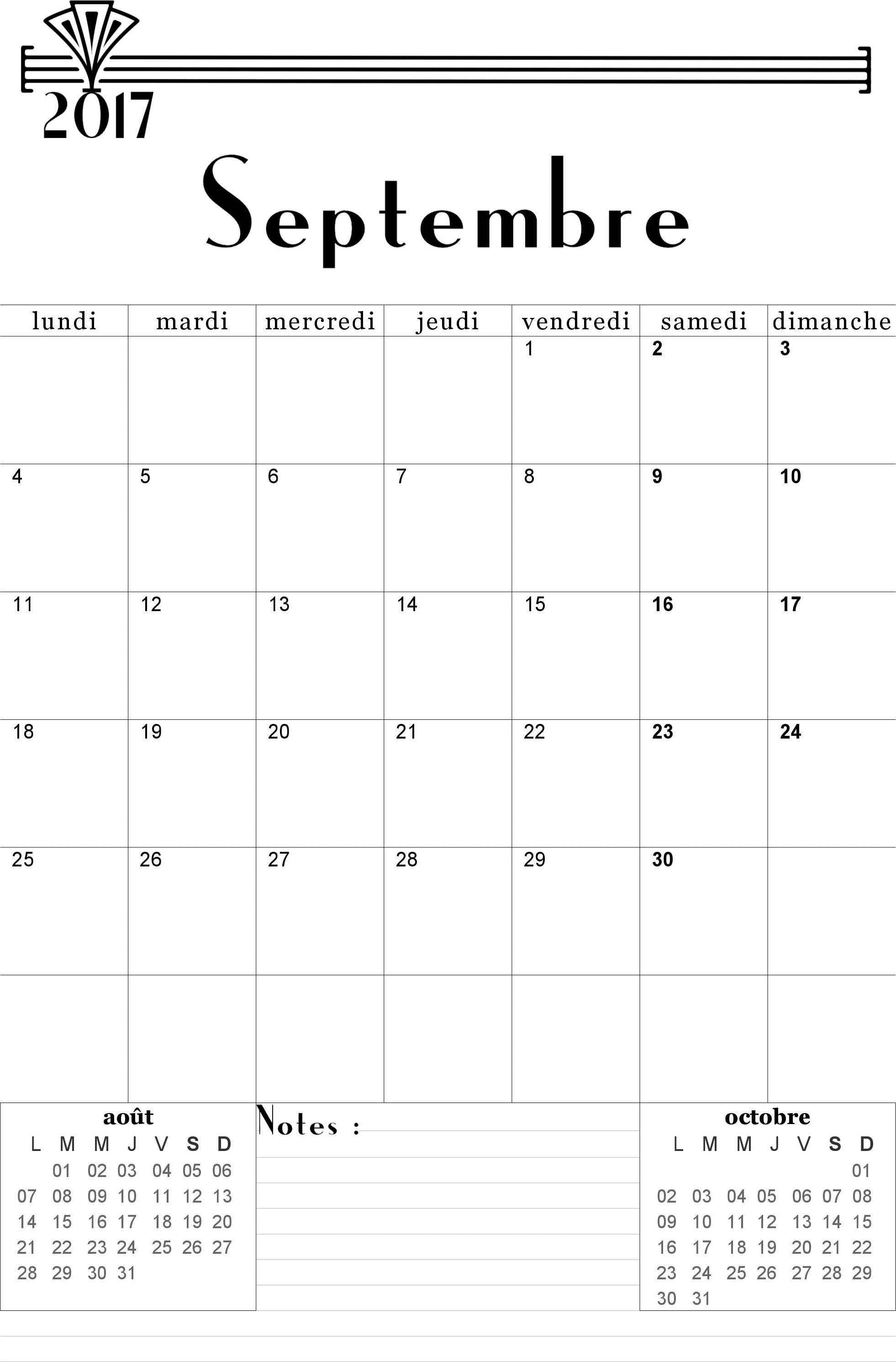 calendrier a imprimer mois de septembre 2018