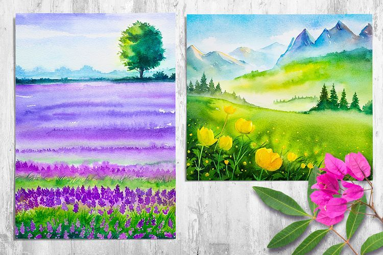 Spring Landscapes Watercolor 16169 Illustrations Design Bundles Spring Landscape Landscape Illustration Painting