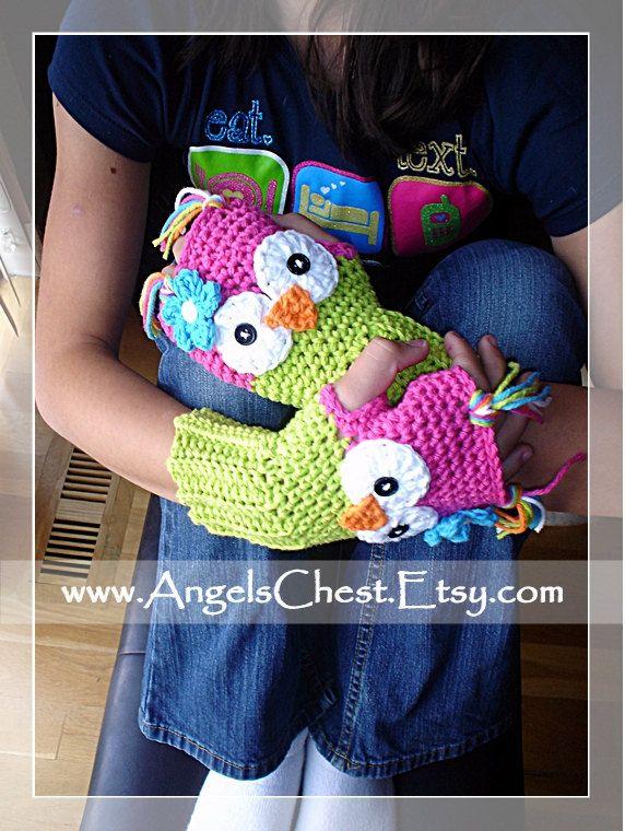 PDF Crochet Pattern Owl Hand Warmers - Fingerless Gloves Toddler to ...