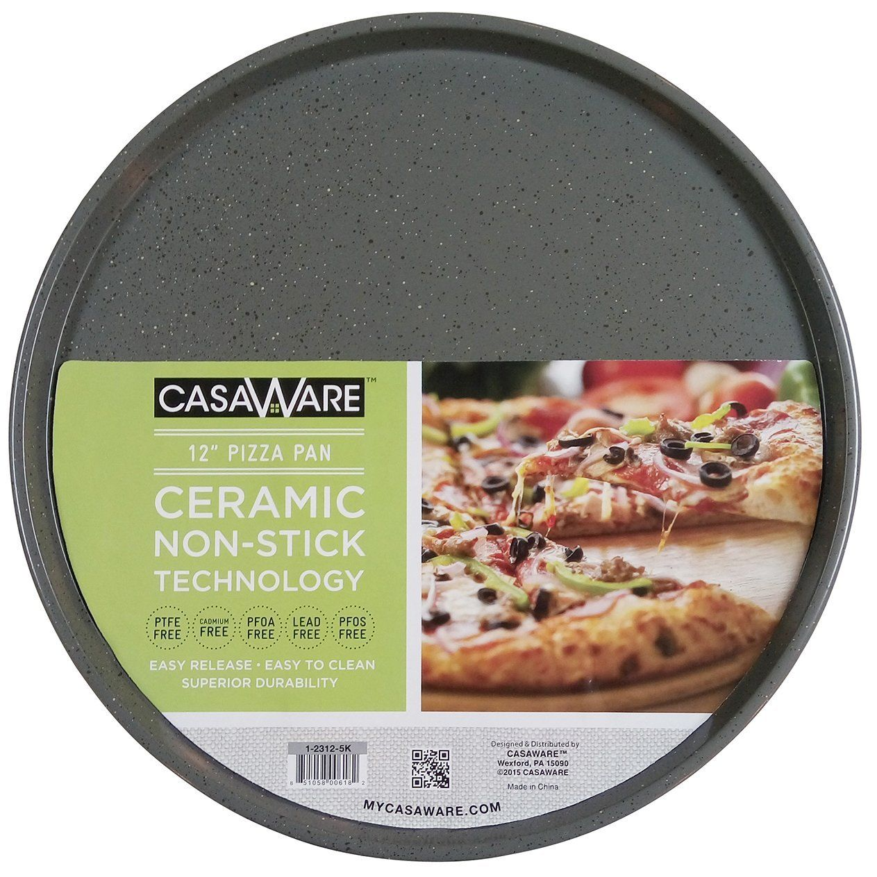 Cookware gt see more select by calphalon ceramic nonstick 8 inch an - Casaware Toaster Oven Pizza Baking Pan 12 Inch Silver Granite You