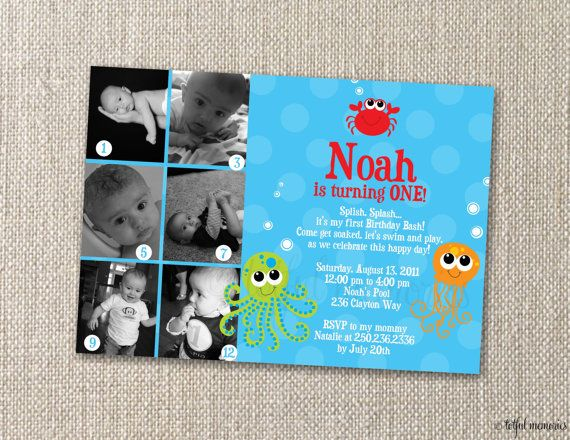 DIY Printable. Under the Sea COLLECTION Birthday Invitation II. Photo Montage. Customizable.. $15.00, via Etsy.