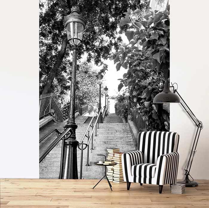 Trompe L Oeil Escalier En Photo Noir Et Blanc Avec Images Deco