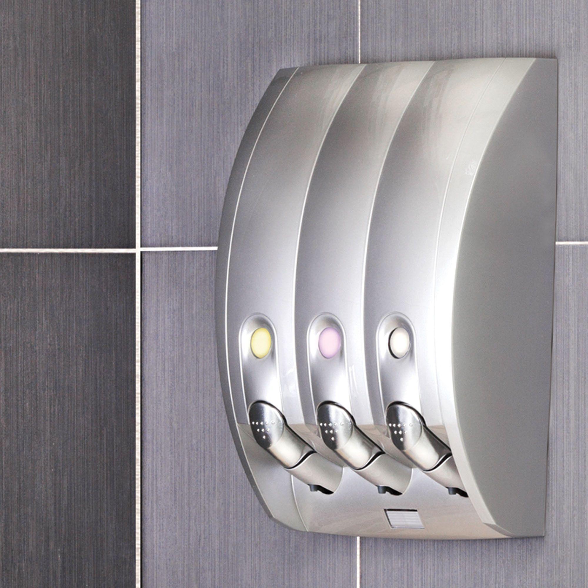 Curve Three Chamber Soap Shampoo Shower Dispenser Grinneel  # Muebles Bobrick