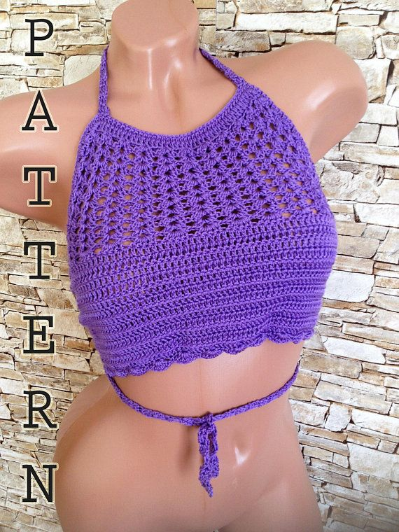 Crochet Top Pattern Bohemian Crop Top High Neck Halter Top Bra