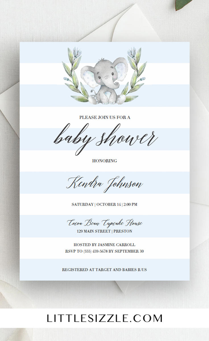 Blue Elephant Baby Shower Invitation Template In 2018 Baby Shower