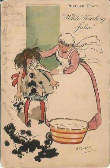 Popular Plays White Washing Julia Artist Signed H Cowham Raphael Tuck & Sons #Humorous Series 1906 #Comic #Vintage #Postcard 100 years old @postcardsintheattic