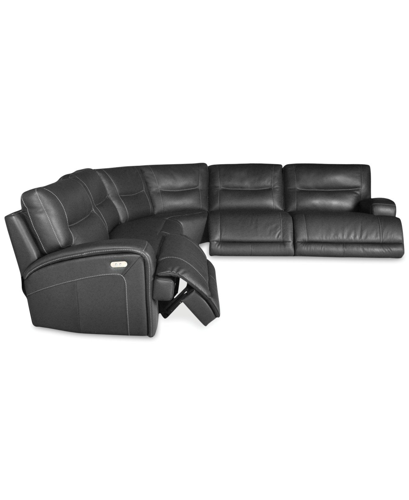 Caruso Leather 6 Piece Power Motion Chaise Sectional Sofa | Den