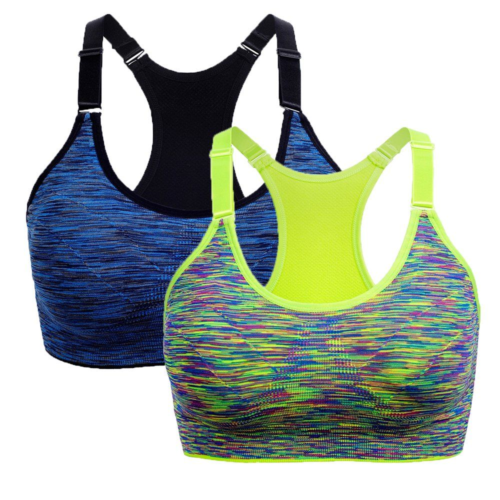 eccb91d5d2807 Women s Seamless Sports Bras Adjustable Straps Racerback Workout Yoga Bra  (L