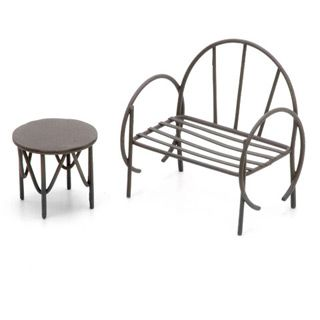 Miniature Garden Furniture Metal Mini Bench & Table Set is part of Mini garden Furniture - When a garden fairy needs to sit down and put up her feet, this mini bench and table set is the perfect spot! It makes a beautiful accent for mini gardens in other styles, too  Each miniature garden bench features rounded arms and a slatted seat  It stands 3 inches tall and measures 2 x 2 875 inches  The matching mini table has a 1 5 inch diameter flat top and stands 1 125 inches tall