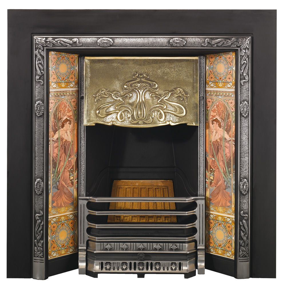 Artnouveautiledinsertlbg fireplaces art