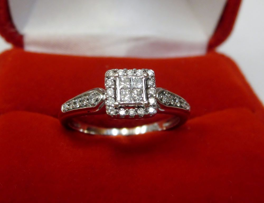 Real Square Quad Princess Diamond Halo Engagement Ring 10k White Gold Sz 6 25 Princess Diamond Halo Halo Diamond Engagement Ring White Gold