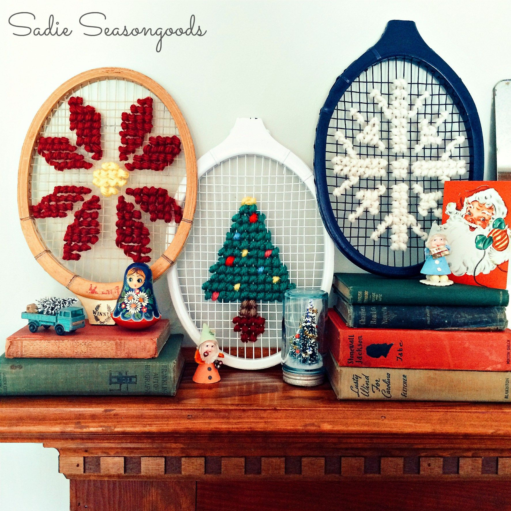 Upcycling Ideas For Used Sports Equipment Used Sporting Goods Vintage Christmas Crafts Christmas Cross Stitch Christmas Cross