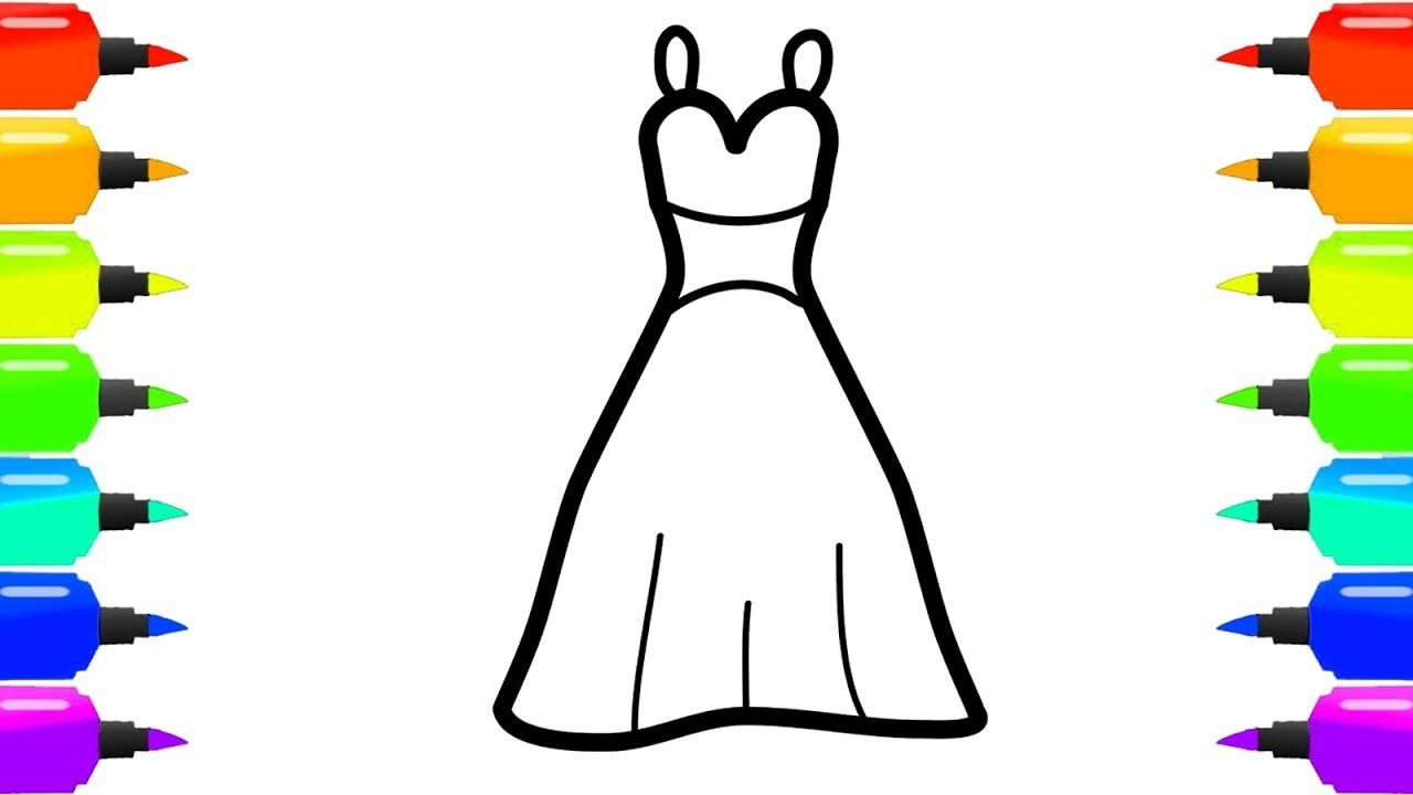 How to Draw Dress Coloring Page for Kids - Accessories Coloring Page ...
