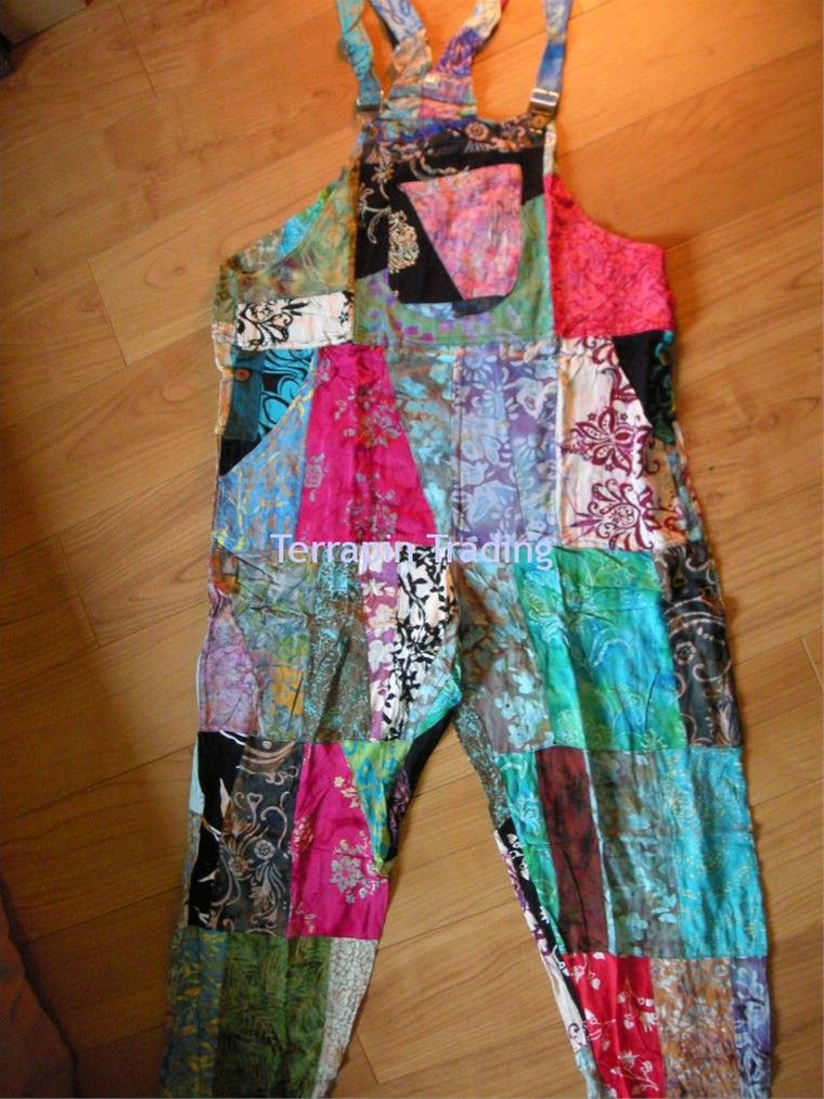 a5b02425671 Fair Trade Indonesian Multicoloured Patchwork Hippy Festy Dungarees ...