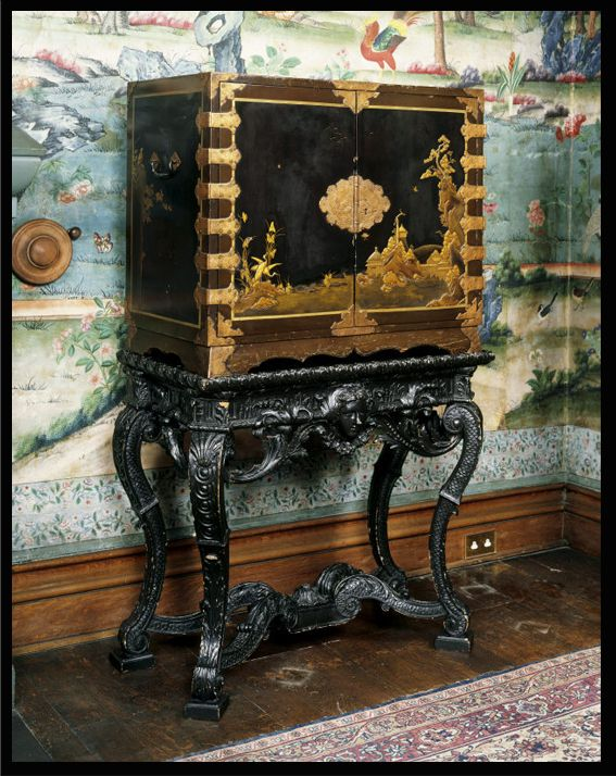 Japanese lacquer cabinet here  Seventeenth-century Japanese lacquer cabinet on a William Kent-style stand.