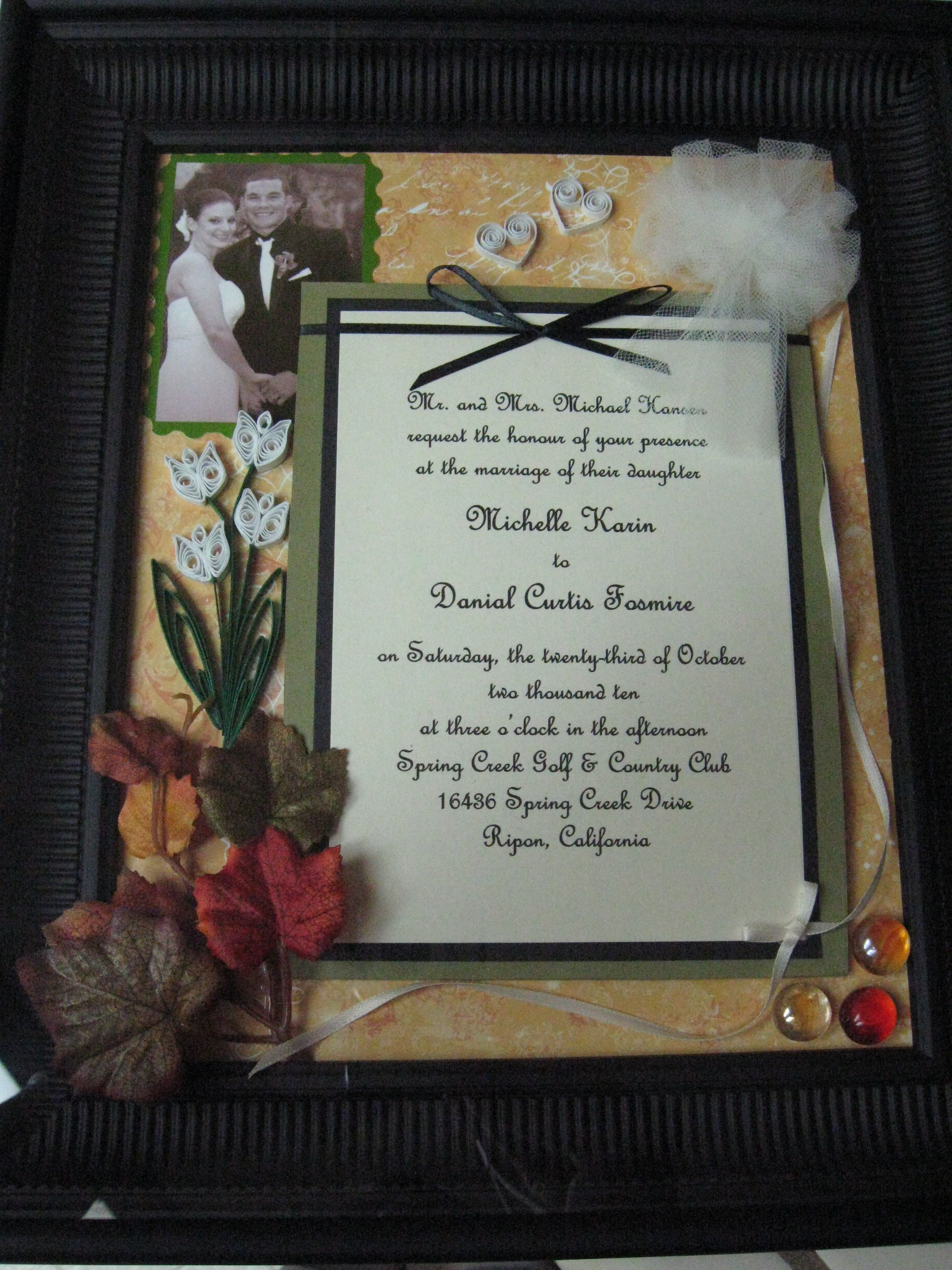 First Year Anniversary Shadow Box Wedding Invitation Bits Of The