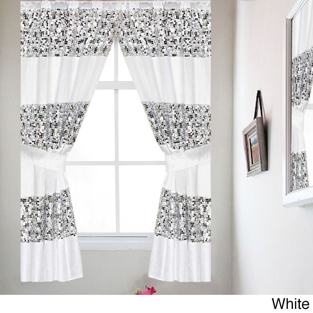 Luxury window coverings  luxury bath collection window curtain set with tiebacks silver