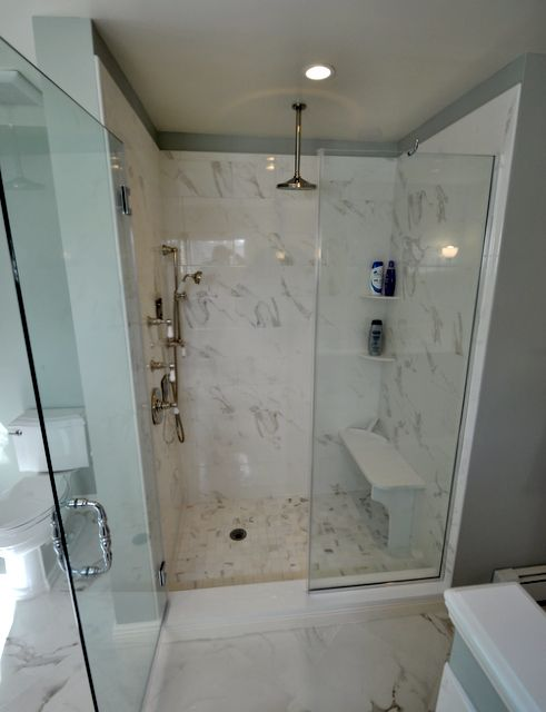 Stand up shower with bench seat bathrooms pinterest for Stand up bath tub