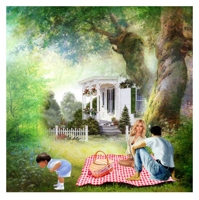 """""""Garden Picnic"""" by sjlew ❤ liked on Polyvore featuring art"""