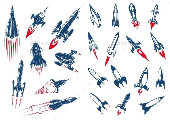 Outer Space Rocket Ships And Military Missiles In Cartoon