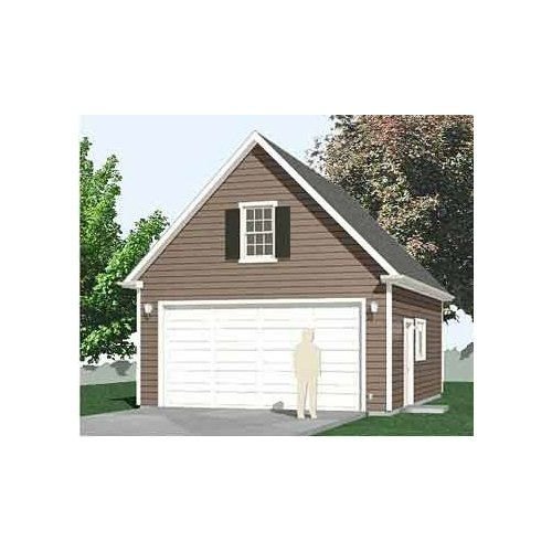 1 1 2 Story Two Car Garage With Loft Storage: Garage Plans : 2 Car Compact, Steep Roof Garage Plan With