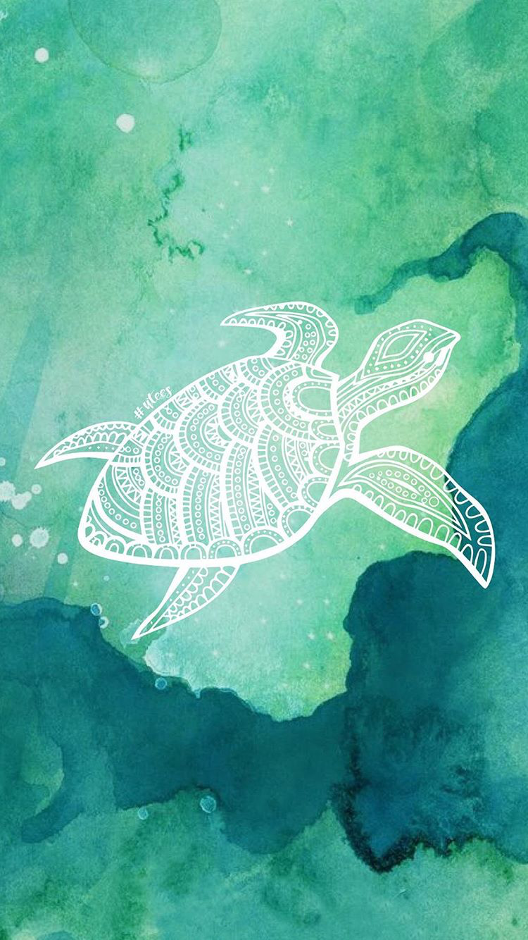 Turtle Love Wallpaper Background I Made by University Tees Design Team I Turquoise iPhone Background