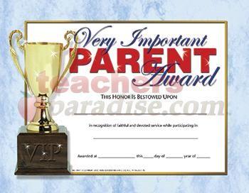 Vip very important parent award parent appreciation ideas pinterest hayes school publishing very important parent award certificates yadclub Image collections