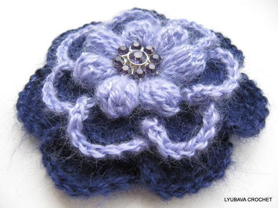 Mohair Brooch Flower 3 Layers 2 Colours Tutorial Pattern Lyubava
