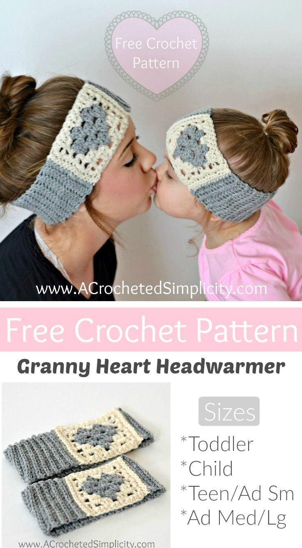 Free Crochet Pattern - Granny Heart Headwarmer by A Crocheted ...
