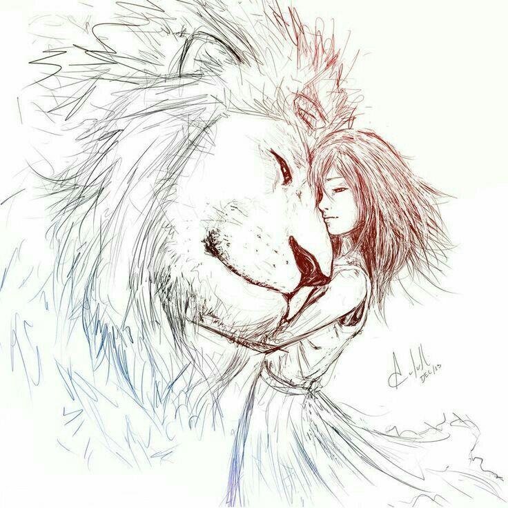 Картинка лев и девушка нарисованные