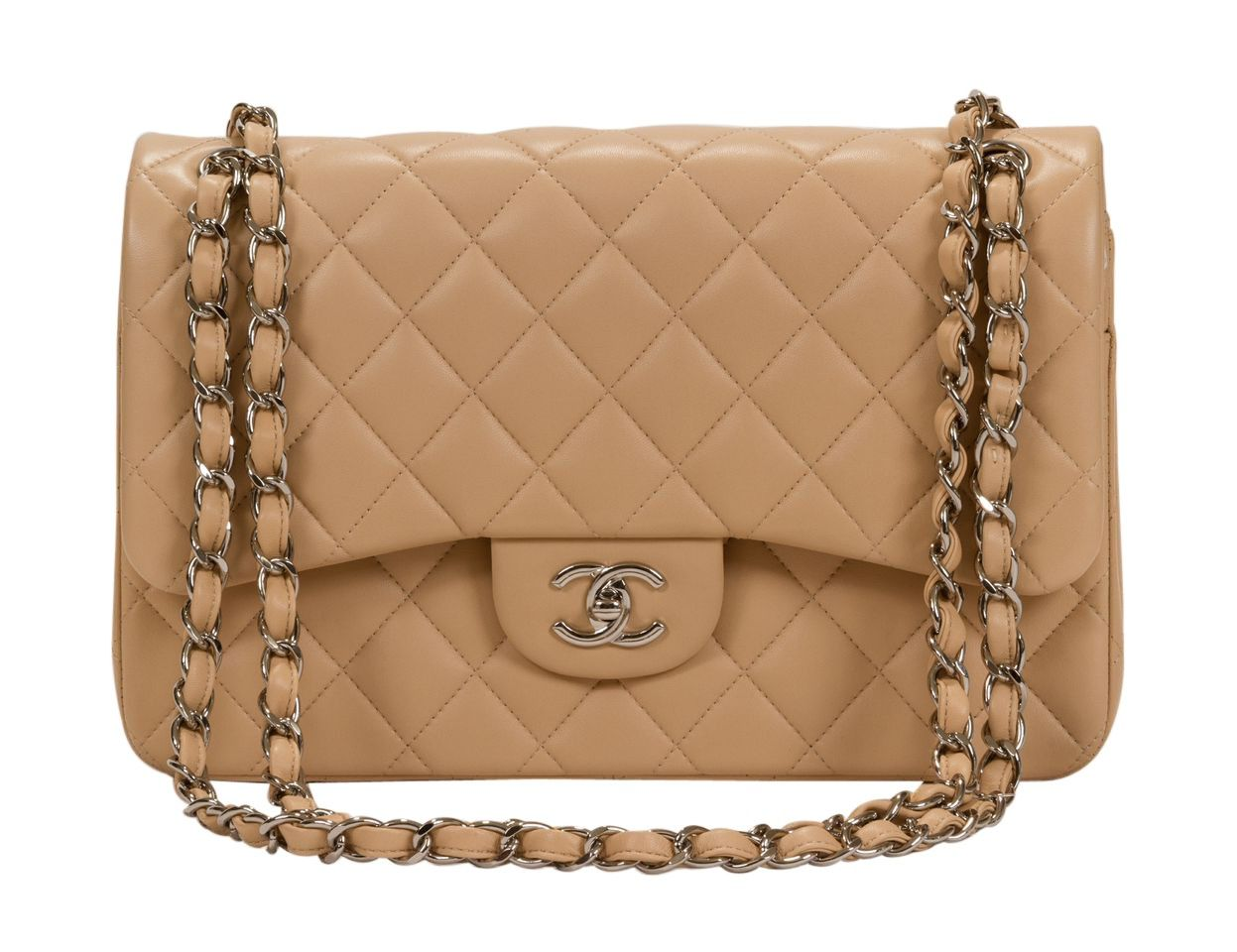 1fb2fe64ed7043 Chanel Beige Lambskin Jumbo Double Flap NWT - Brand New With Tags Chanel  classic jumbo double flap purse. Silver metal hardware and beige quilted  lambskin.
