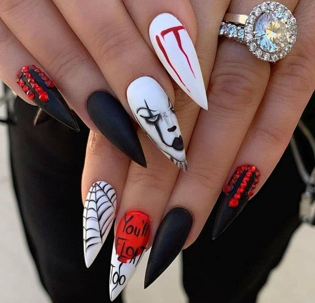 Pin By Kasia Skoczen On Nails In 2020 Halloween Acrylic Nails Cute Halloween Nails Horror Nails