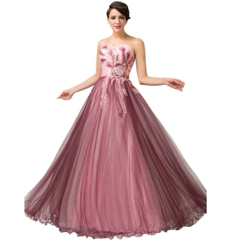 2015 Elegant Plus Size Women Strapless Prom Ball Gown Formal Party ...