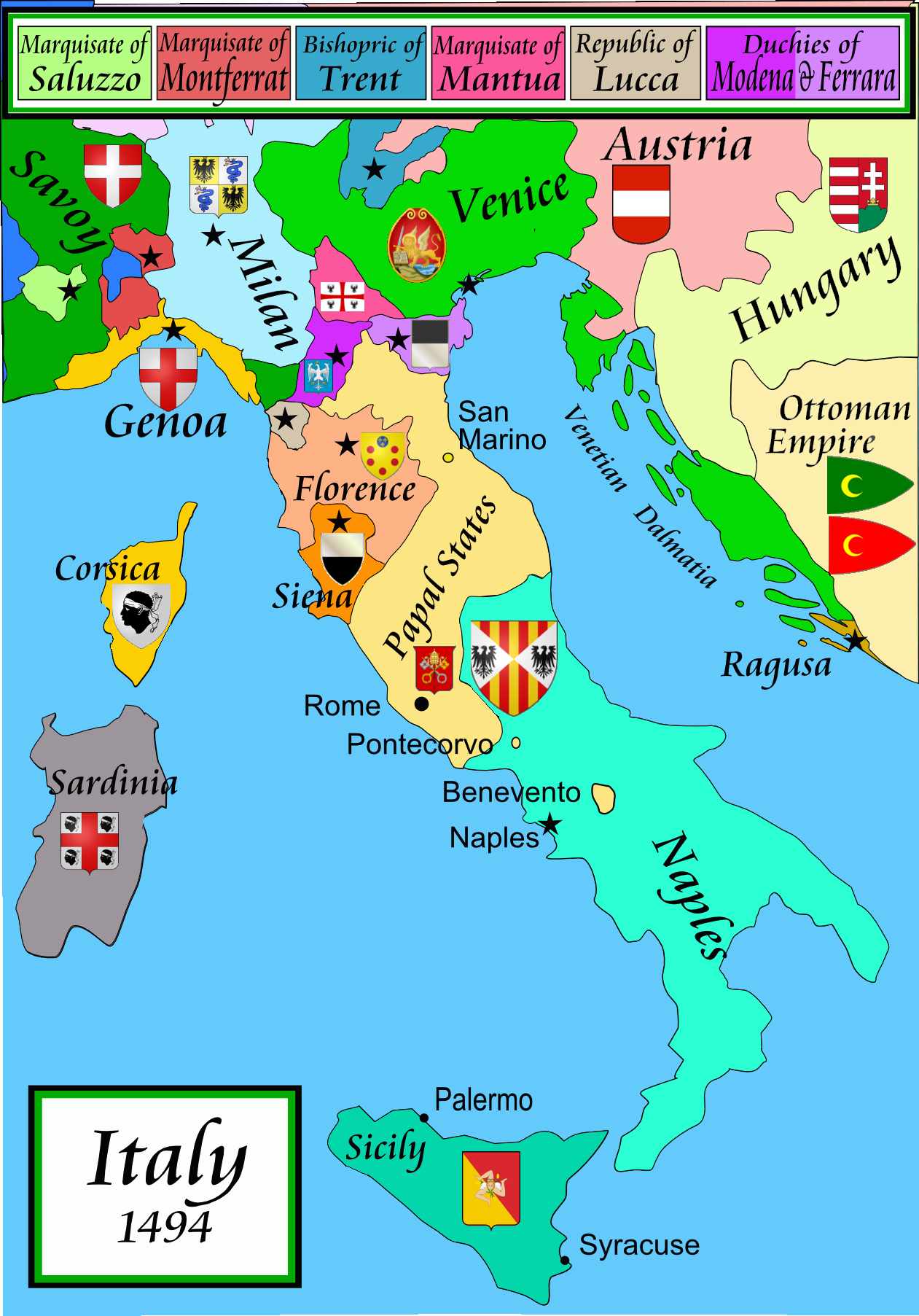 Modern Map Of Italy.1494 Italy Maps Italy Map France Map Historical Maps