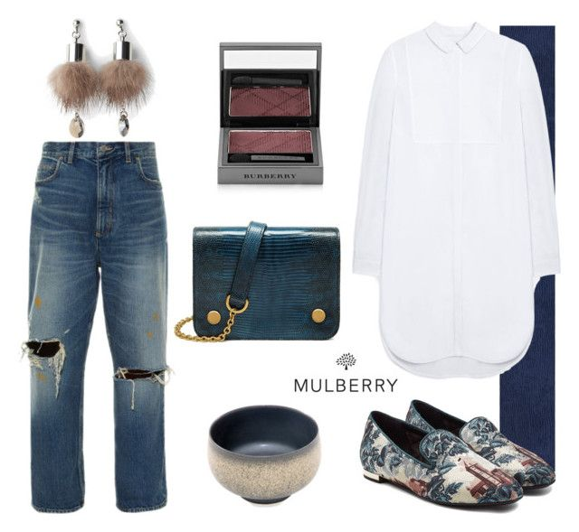 """Mulberry mix"" by tiraboschi-b on Polyvore featuring moda, Golden Goose, Versace, Mulberry, Burberry, Rouge e Simons"