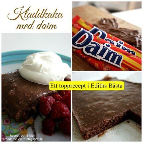 Madame Edith - Recept: Kladdkaka med daim - Daimrutor