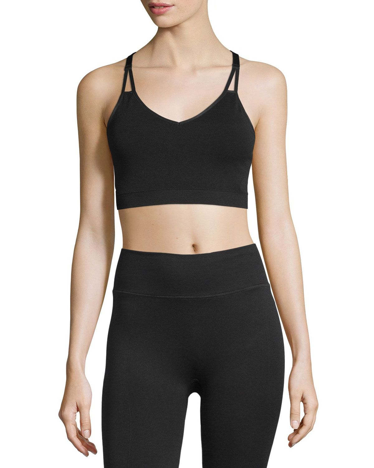 Yummie Tummie Whitney VNeck Sports Bra, Black Cotton
