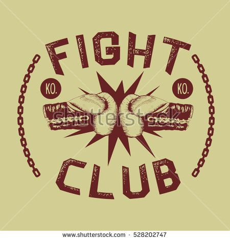 two boxing gloves is hitting together Fight club Vintage style