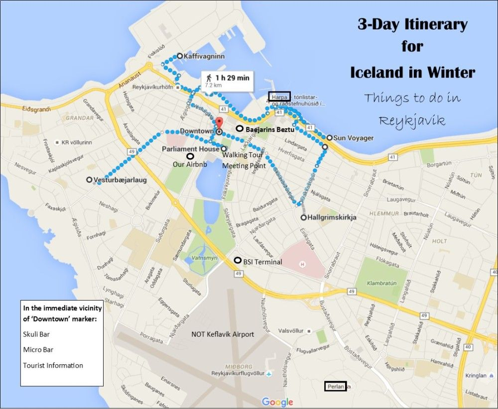 Day Itinerary For Iceland In Winter Reykjavik Map Iceland And - Reykjavík map