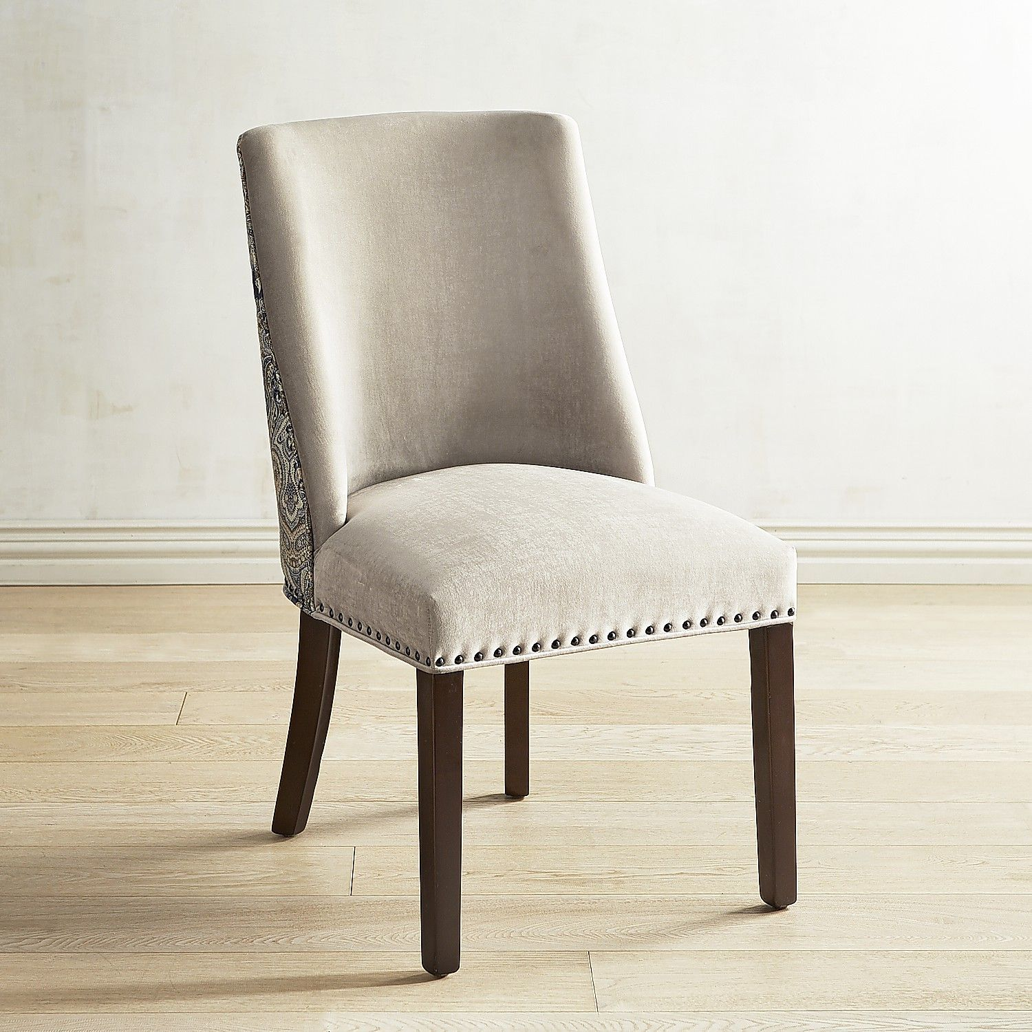 Corinne Blue Dining Chair with Espresso Wood Linen