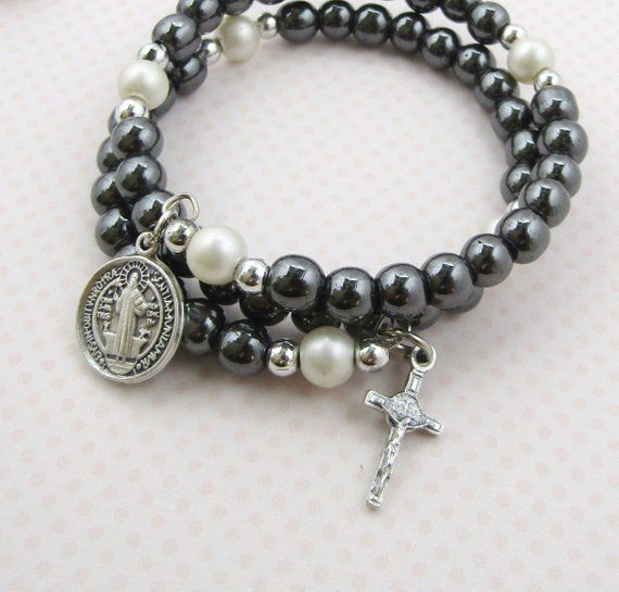 c2becdcef20 Saint BENEDICT Rosary Bracelet St. Benedict HEMATITE Rosary Bracelet w/  ITALY Crucifix Catholic Rosa