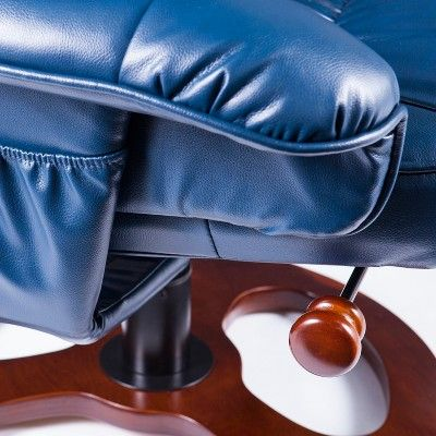 Swell Locke Faux Leather Swivel Recliner With Ottoman Bright Navy Dailytribune Chair Design For Home Dailytribuneorg