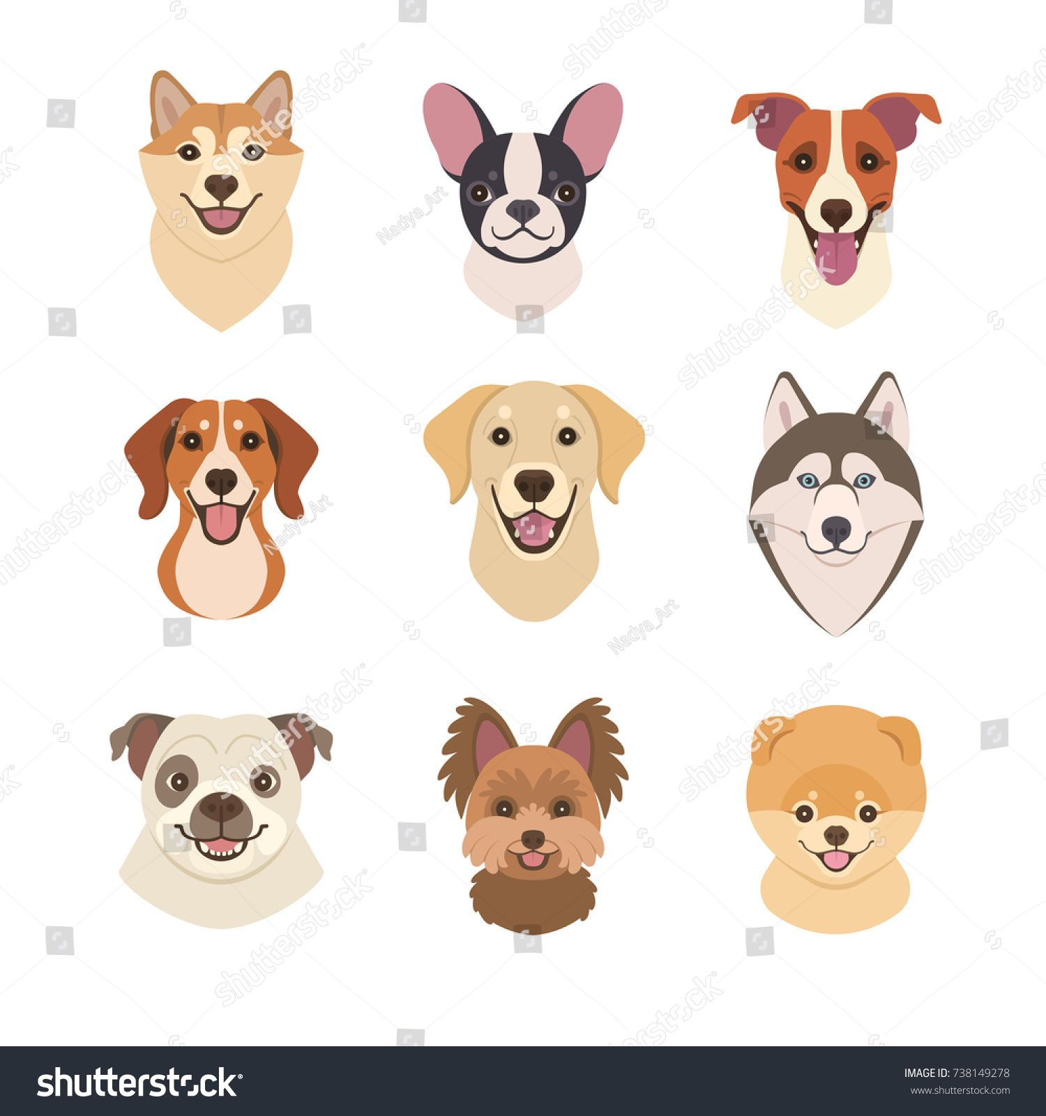 Dogs Faces Collection Vector Illustration Of Funny Cartoon