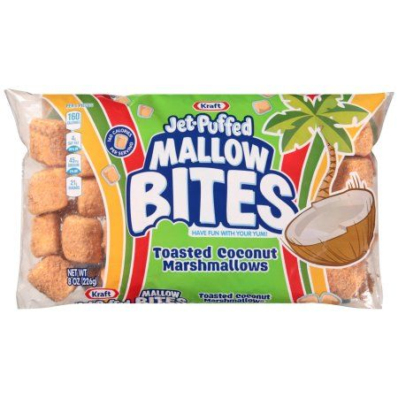 Kraft Jet-Puffed Mallow Bites Toasted Coconut Flavored Marshmallows 8 oz Wrapper #flavoredmarshmallows